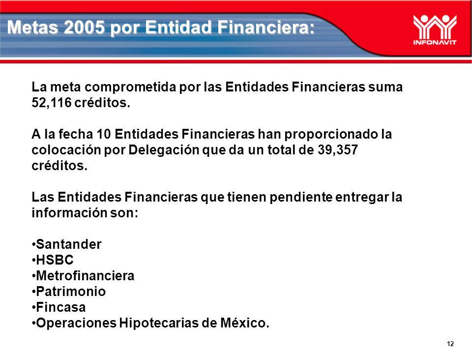 Metas 2005 por Entidad Financiera: