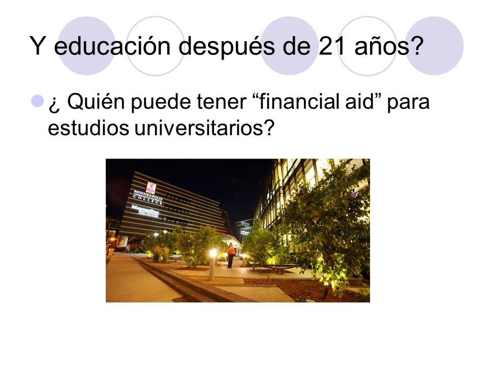 Y educación después de 21 años
