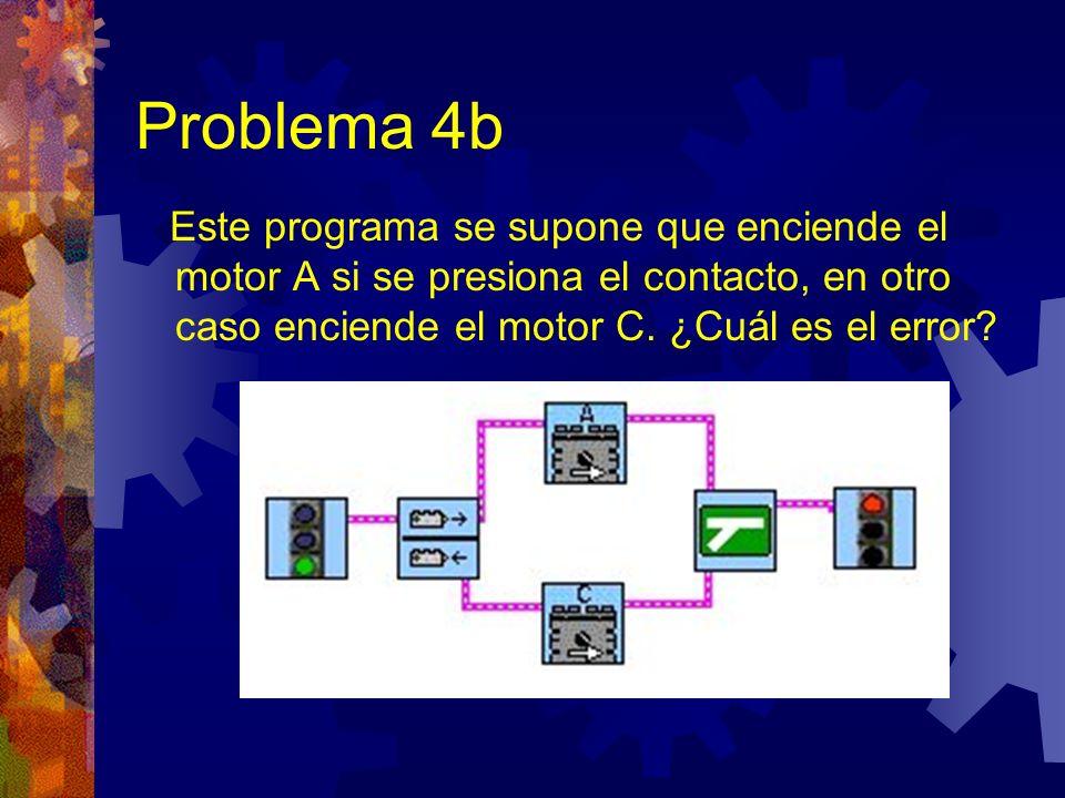 Problema 4b Este programa se supone que enciende el motor A si se presiona el contacto, en otro caso enciende el motor C.