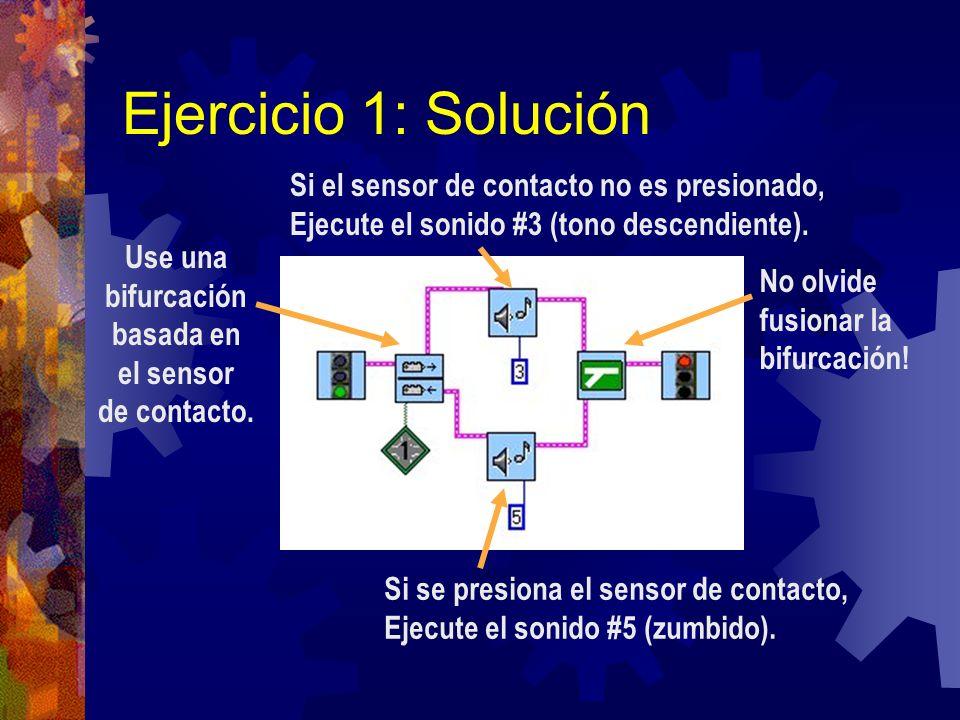 Ejercicio 1: Solución Si el sensor de contacto no es presionado,