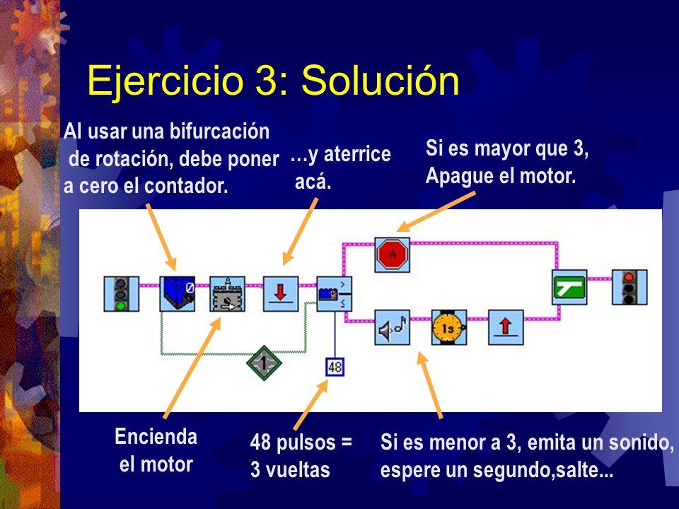 Ejercicio 3: Solución Al usar una bifurcación de rotación, debe poner
