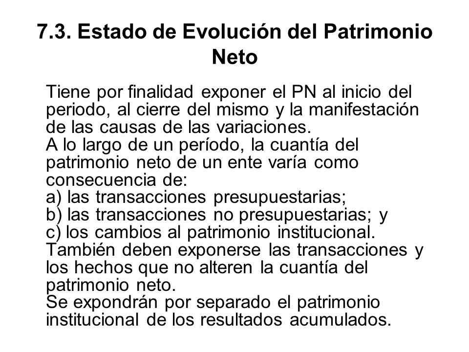 7.3. Estado de Evolución del Patrimonio Neto