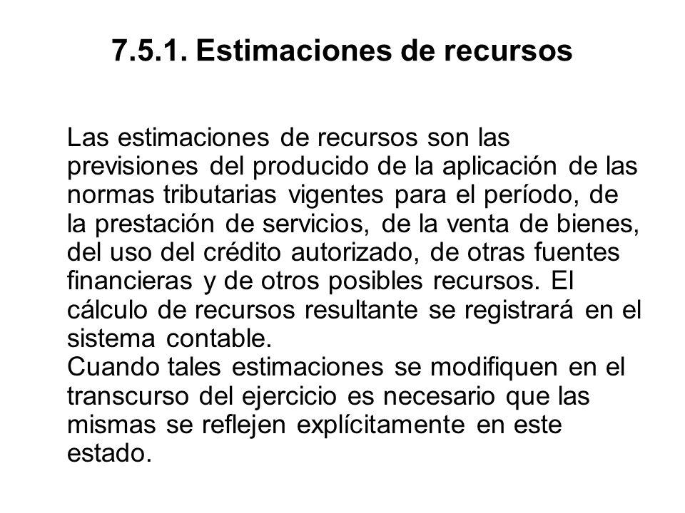 7.5.1. Estimaciones de recursos