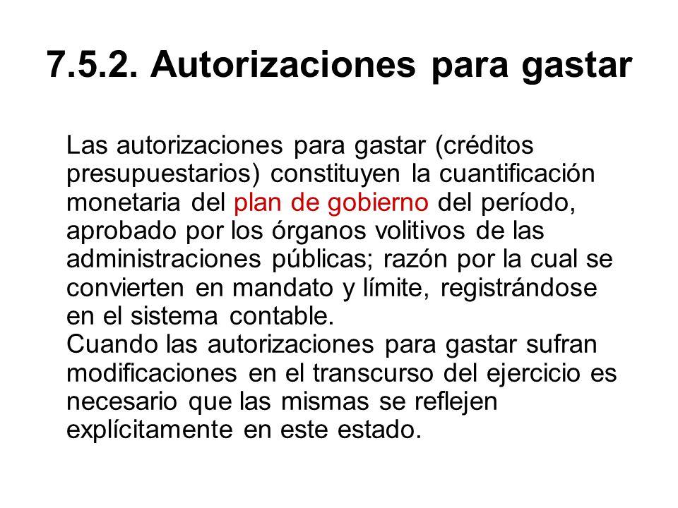 7.5.2. Autorizaciones para gastar