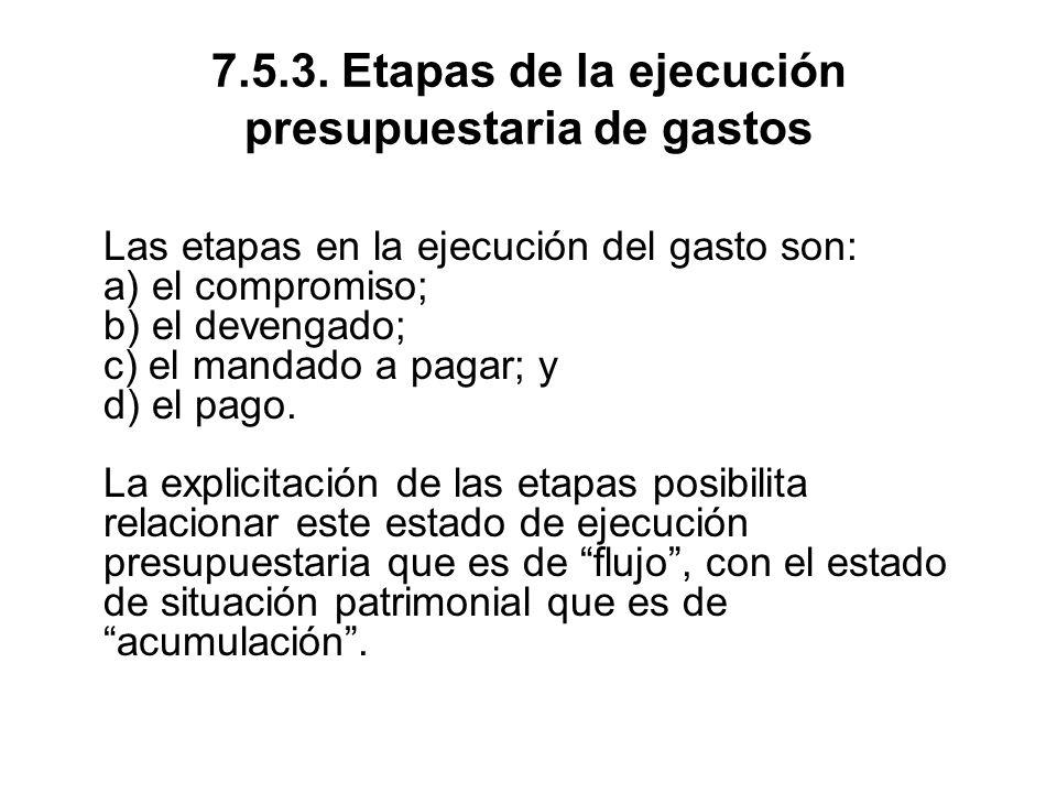 7.5.3. Etapas de la ejecución presupuestaria de gastos
