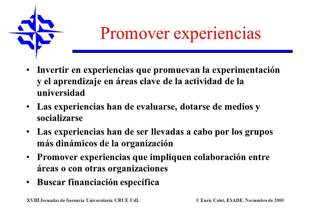 Promover experiencias