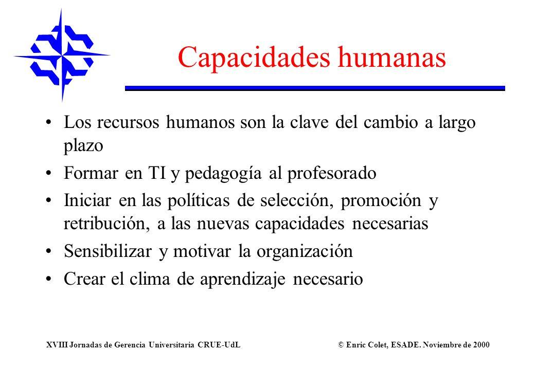 Capacidades humanas Los recursos humanos son la clave del cambio a largo plazo. Formar en TI y pedagogía al profesorado.