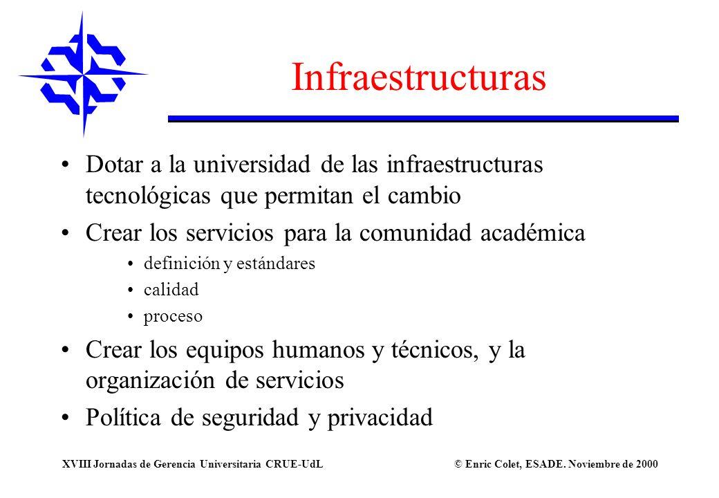 Infraestructuras Dotar a la universidad de las infraestructuras tecnológicas que permitan el cambio.