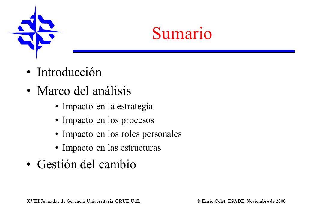 Sumario Introducción Marco del análisis Gestión del cambio