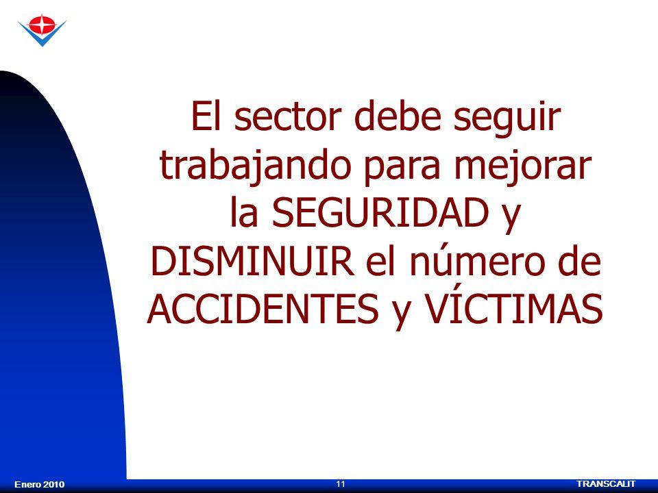 El sector debe seguir trabajando para mejorar la SEGURIDAD y DISMINUIR el número de ACCIDENTES y VÍCTIMAS
