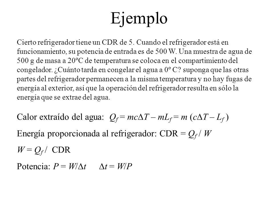 Ejemplo Calor extraído del agua: Qf = mcDT – mLf = m (cDT – Lf )