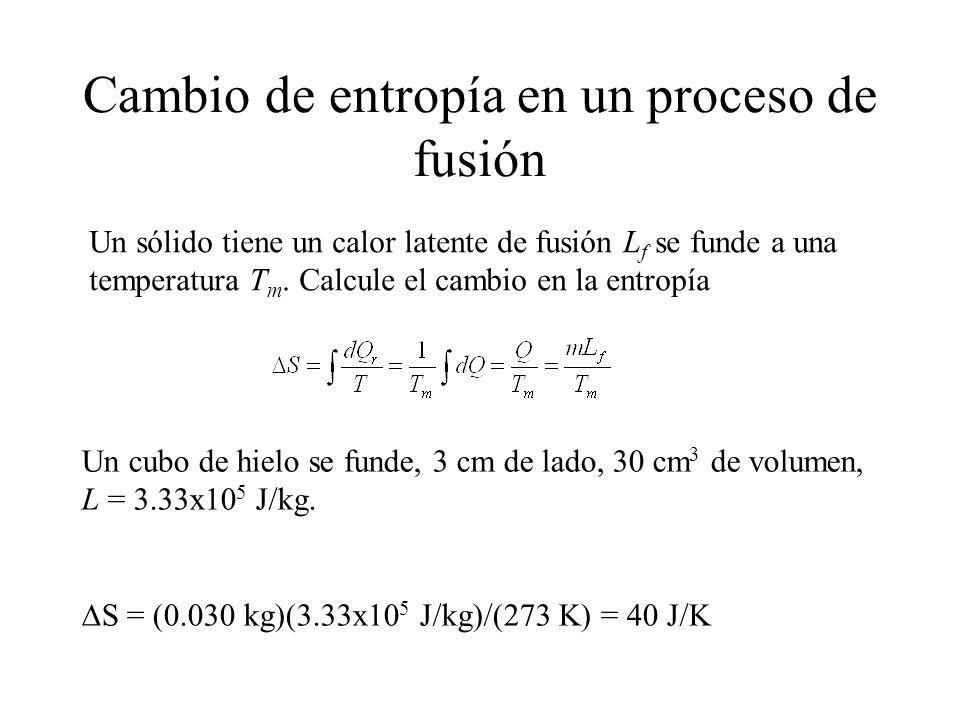 Cambio de entropía en un proceso de fusión