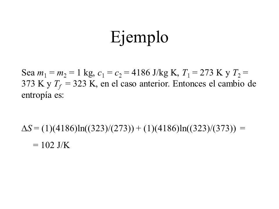 Ejemplo Sea m1 = m2 = 1 kg, c1 = c2 = 4186 J/kg K, T1 = 273 K y T2 = 373 K y Tf = 323 K, en el caso anterior. Entonces el cambio de entropía es: