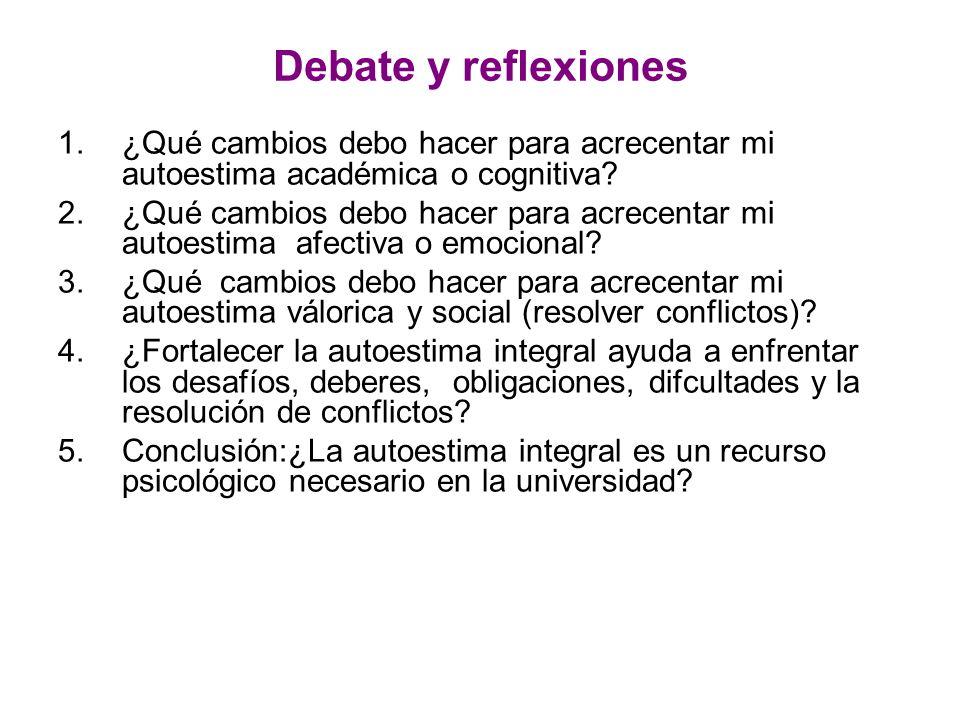 Debate y reflexiones ¿Qué cambios debo hacer para acrecentar mi autoestima académica o cognitiva
