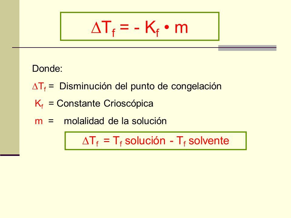 Tf = Tf solución - Tf solvente