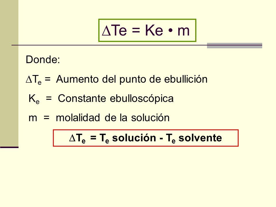 Te = Te solución - Te solvente