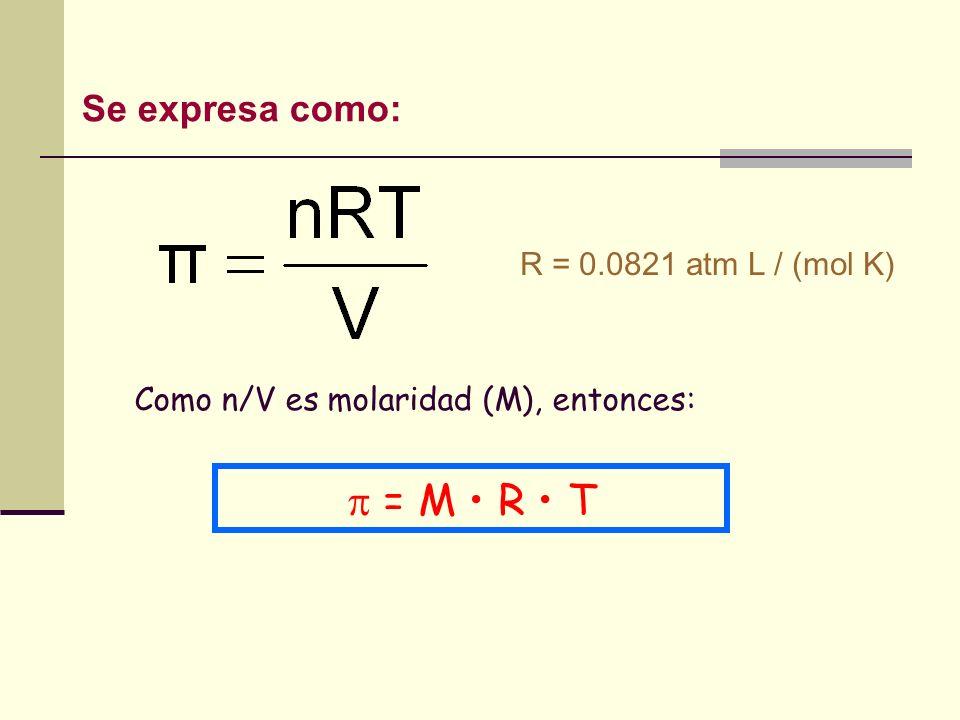  = M • R • T Se expresa como: R = 0.0821 atm L / (mol K)