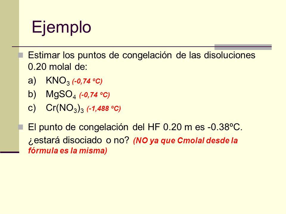 Ejemplo Estimar los puntos de congelación de las disoluciones 0.20 molal de: a) KNO3 (-0,74 ºC) b) MgSO4 (-0,74 ºC)