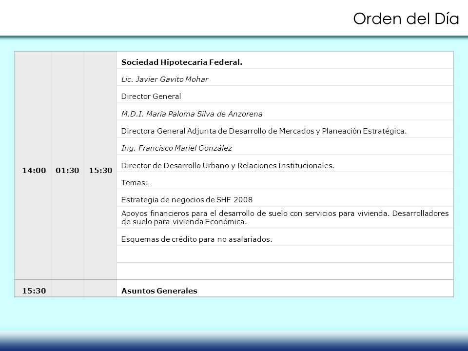 Orden del Día 14:00 01:30 15:30 Sociedad Hipotecaria Federal.
