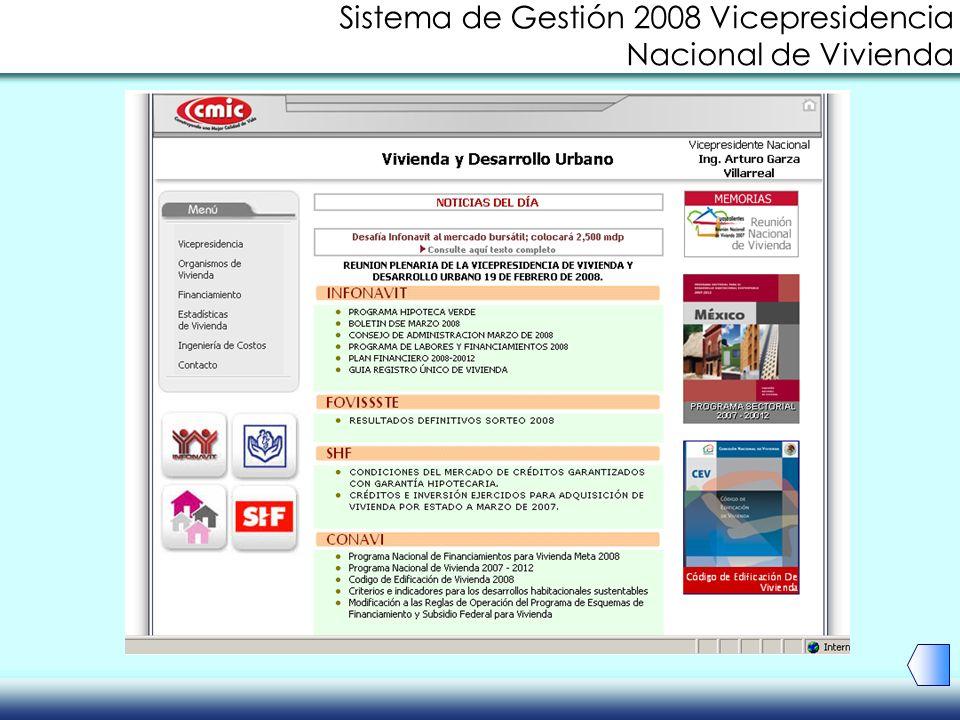 Sistema de Gestión 2008 Vicepresidencia Nacional de Vivienda