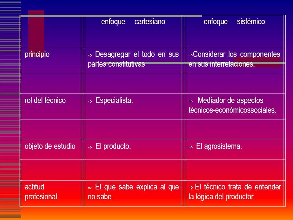 enfoque cartesiano enfoque sistémico principio rol del técnico