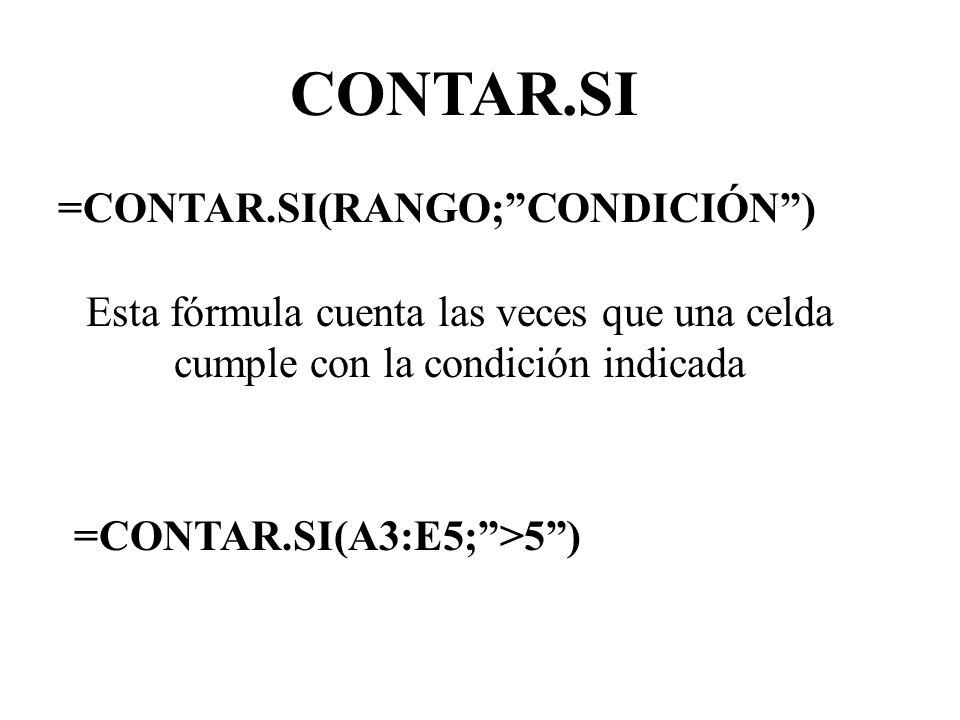CONTAR.SI =CONTAR.SI(RANGO; CONDICIÓN )