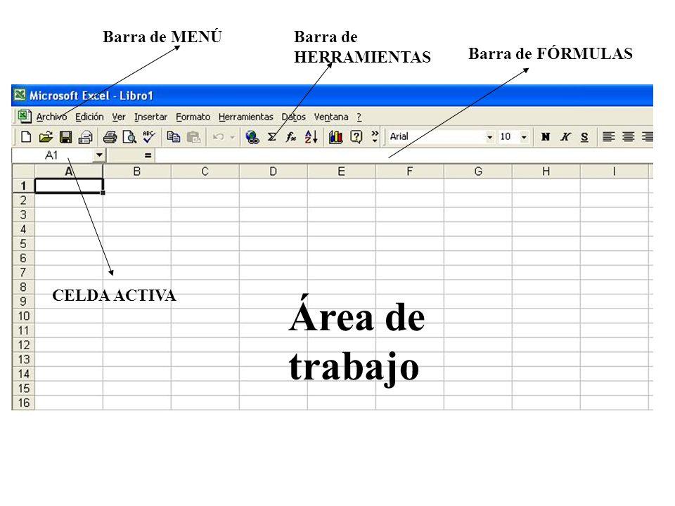Área de trabajo Barra de MENÚ Barra de HERRAMIENTAS Barra de FÓRMULAS