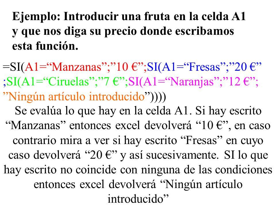 Ejemplo: Introducir una fruta en la celda A1 y que nos diga su precio donde escribamos esta función.