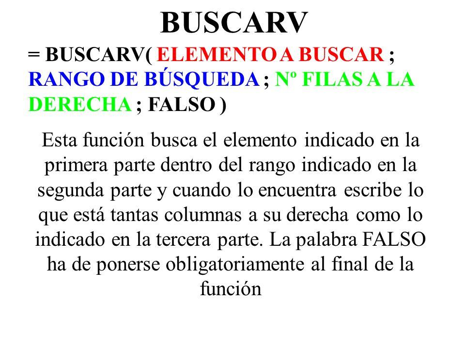 BUSCARV= BUSCARV( ELEMENTO A BUSCAR ; RANGO DE BÚSQUEDA ; Nº FILAS A LA DERECHA ; FALSO )