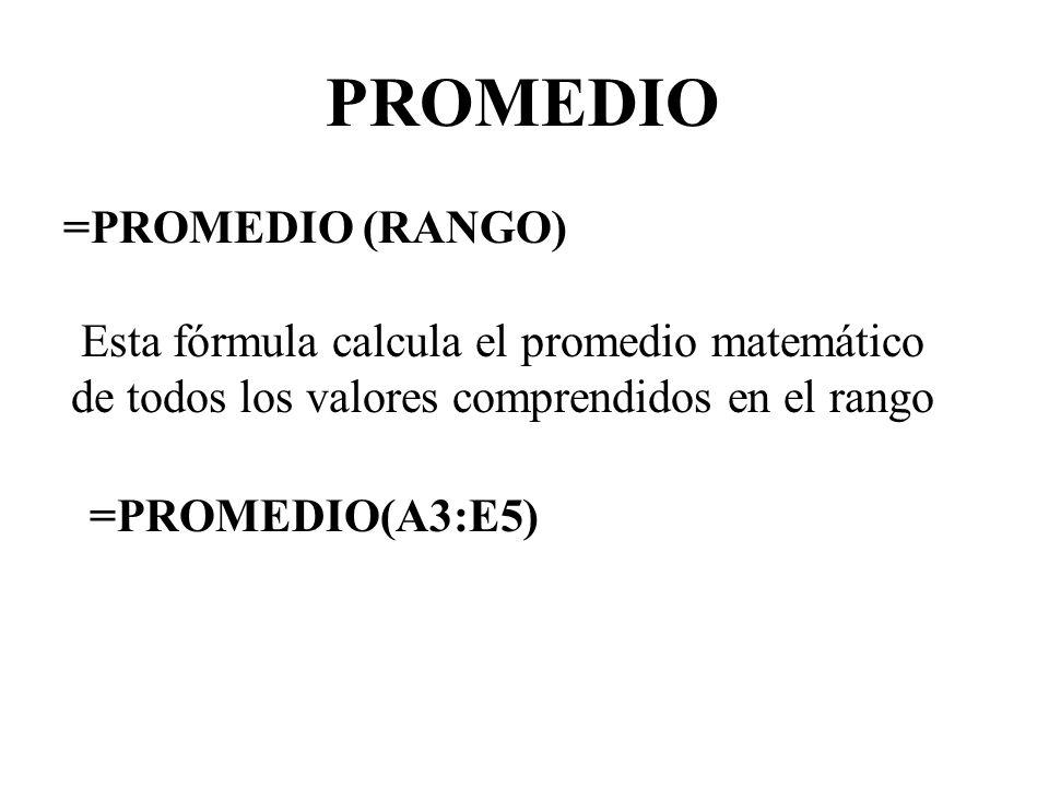 PROMEDIO =PROMEDIO (RANGO)