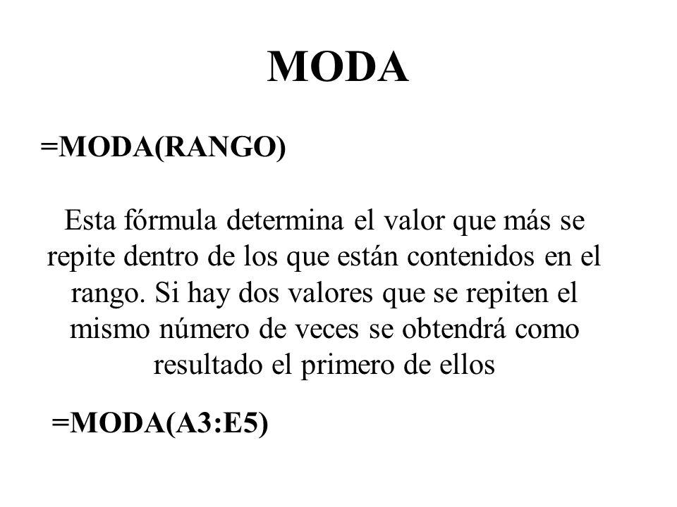 MODA =MODA(RANGO)