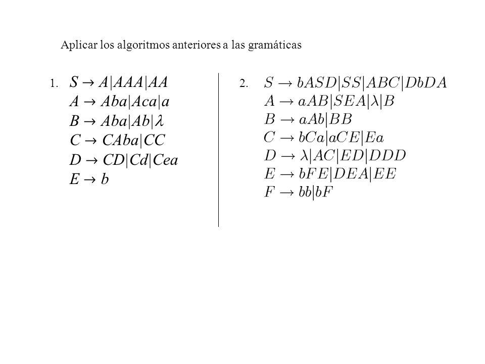 S  A|AAA|AA A  Aba|Aca|a B  Aba|Ab| C  CAba|CC D  CD|Cd|Cea