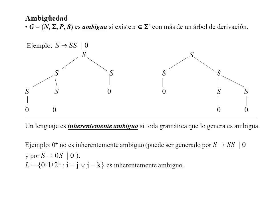 L = {0i 1j 2k : i = j  j = k} es inherentemente ambiguo.