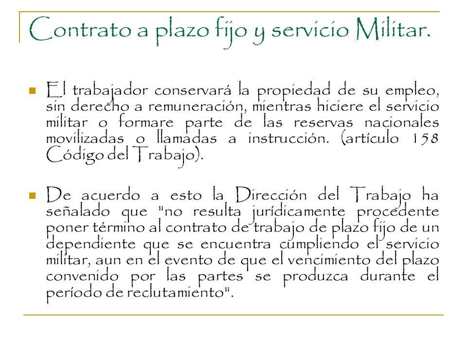 Contrato a plazo fijo y servicio Militar.