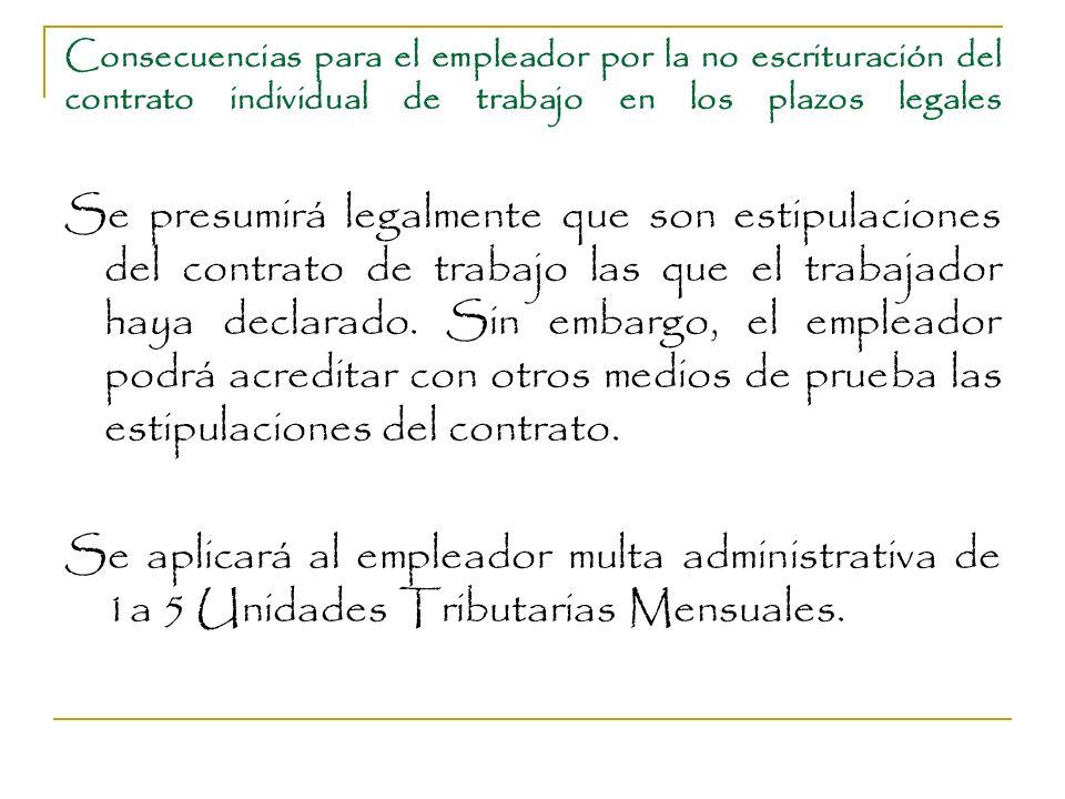 Consecuencias para el empleador por la no escrituración del contrato individual de trabajo en los plazos legales