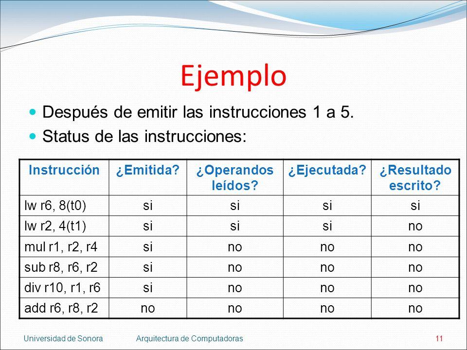 Ejemplo Después de emitir las instrucciones 1 a 5.