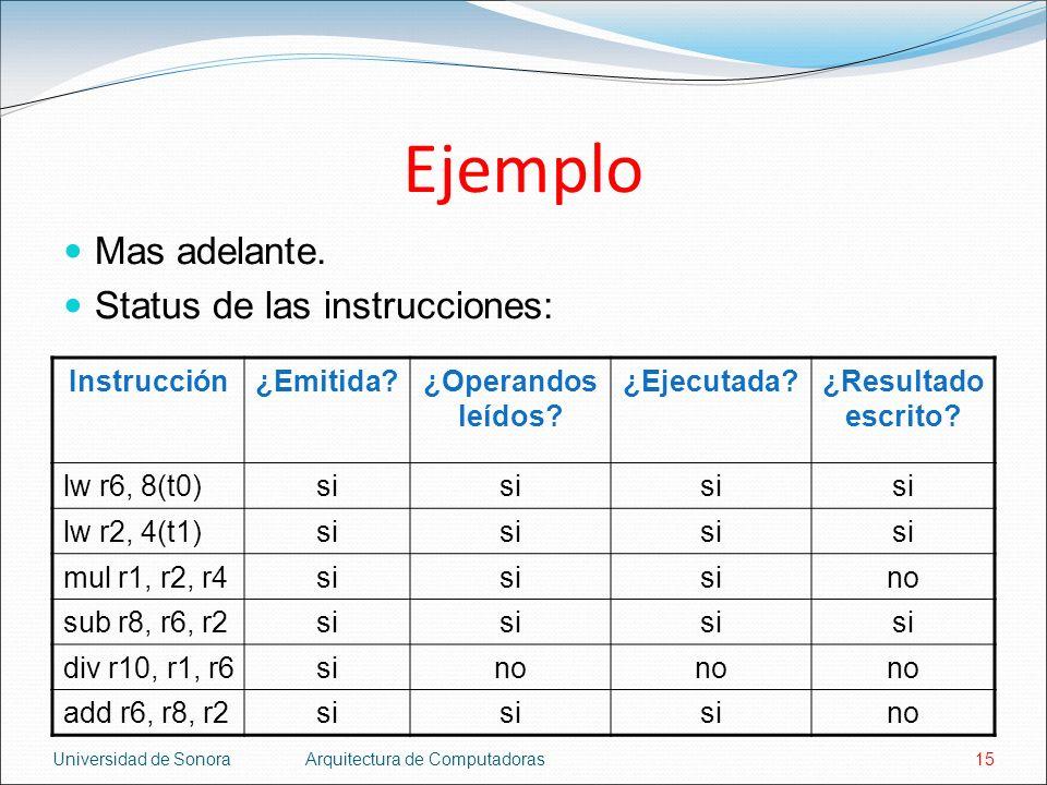 Ejemplo Mas adelante. Status de las instrucciones: Instrucción