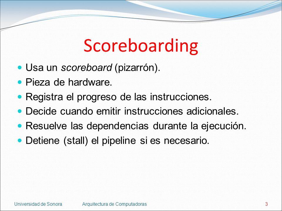Scoreboarding Usa un scoreboard (pizarrón). Pieza de hardware.