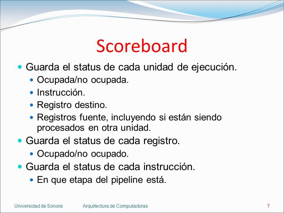 Scoreboard Guarda el status de cada unidad de ejecución.