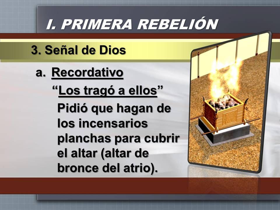 I. PRIMERA REBELIÓN 3. Señal de Dios Recordativo Los tragó a ellos