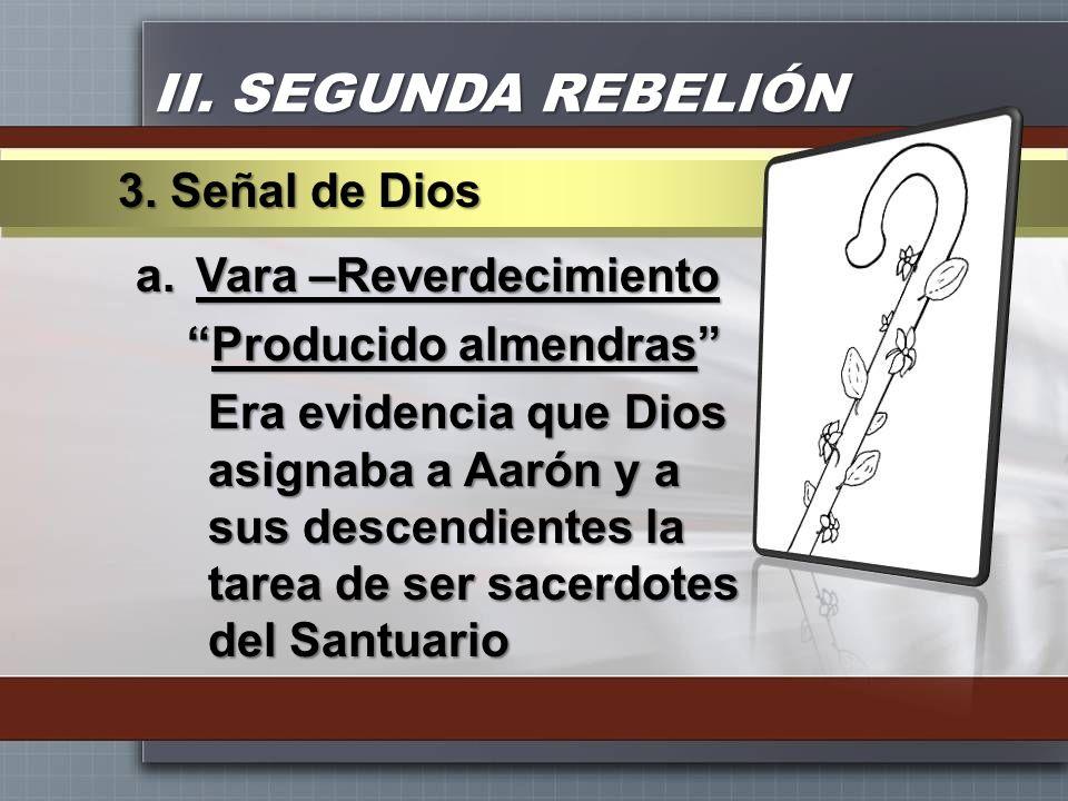 II. SEGUNDA REBELIÓN 3. Señal de Dios Vara –Reverdecimiento