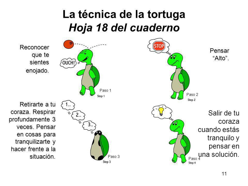 La técnica de la tortuga Hoja 18 del cuaderno