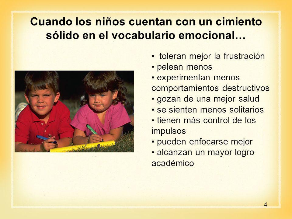 Cuando los niños cuentan con un cimiento sólido en el vocabulario emocional…