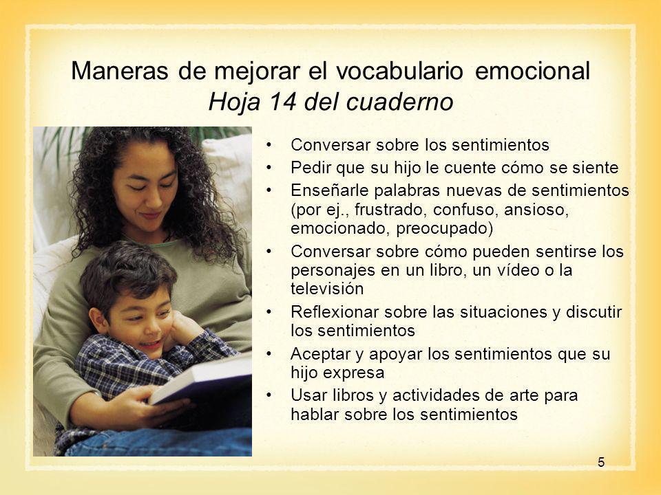 Maneras de mejorar el vocabulario emocional Hoja 14 del cuaderno