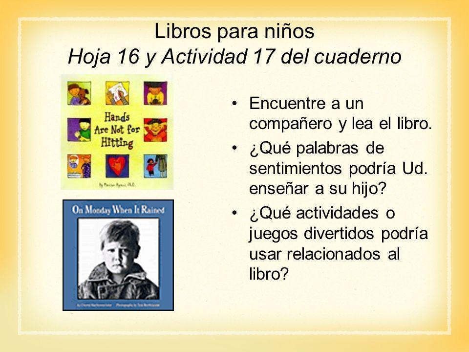 Libros para niños Hoja 16 y Actividad 17 del cuaderno