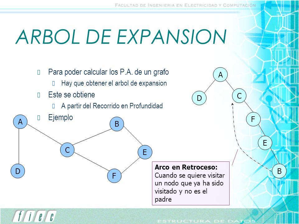 ARBOL DE EXPANSION Para poder calcular los P.A. de un grafo