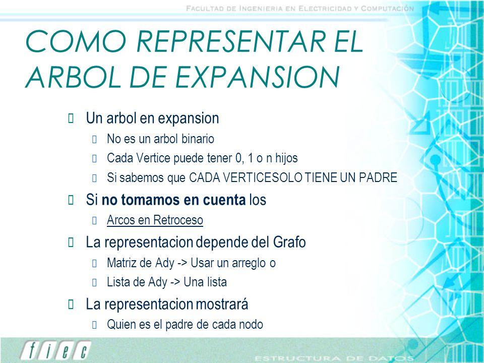 COMO REPRESENTAR EL ARBOL DE EXPANSION