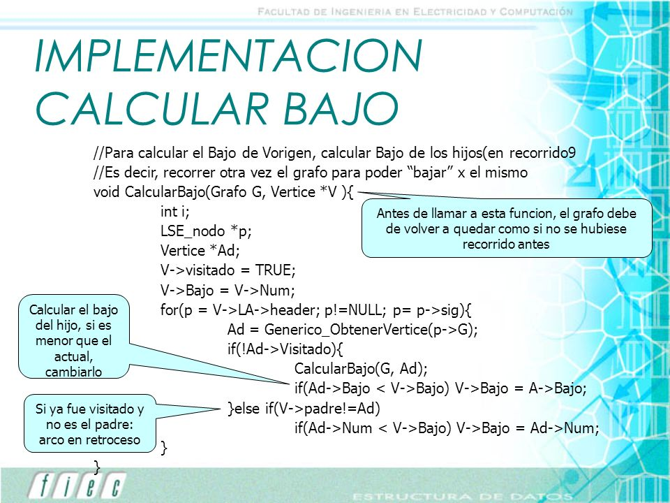 IMPLEMENTACION CALCULAR BAJO