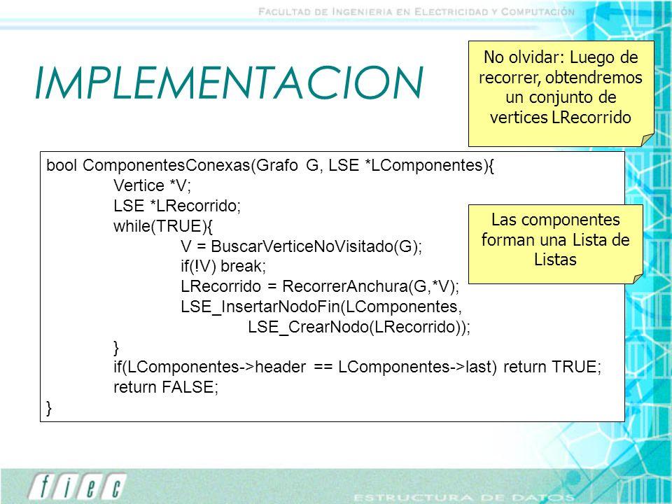Las componentes forman una Lista de Listas