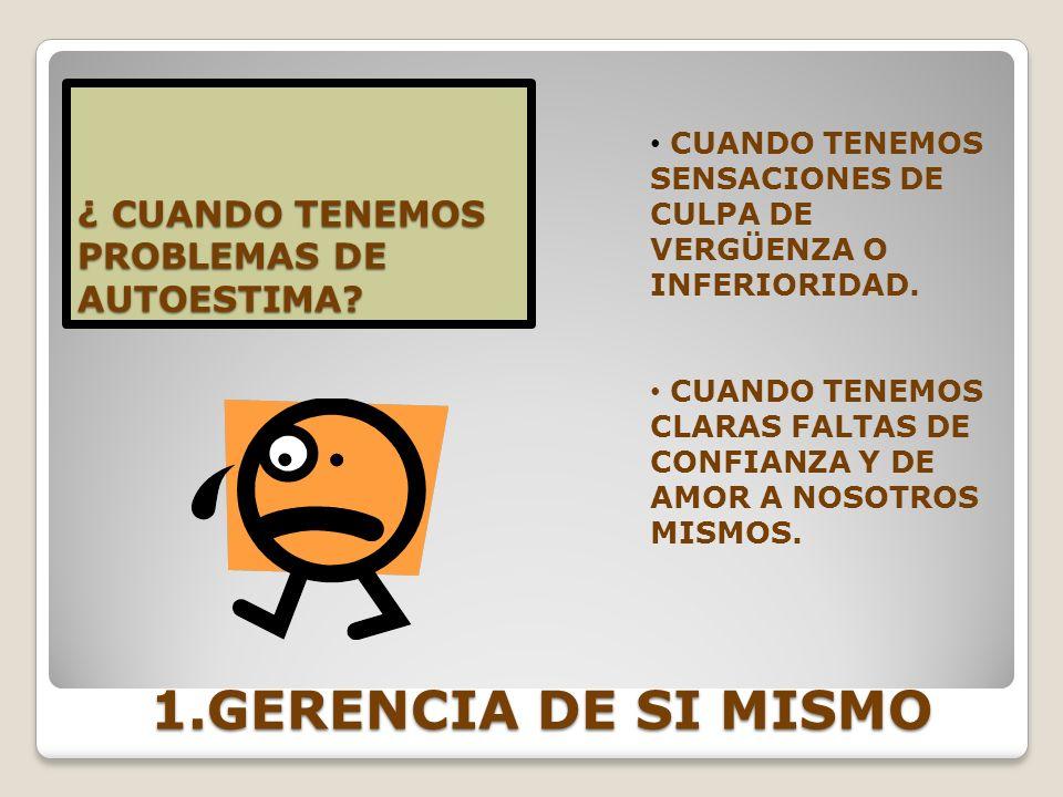 1.GERENCIA DE SI MISMO ¿ CUANDO TENEMOS PROBLEMAS DE AUTOESTIMA